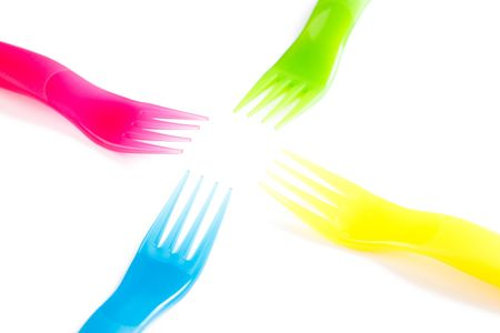 throwaway: photo shot of colofulr plastic cutlery