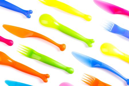 throwaway: photo shot of colofulr plastic cutlery