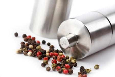 pepper mill on white background photo