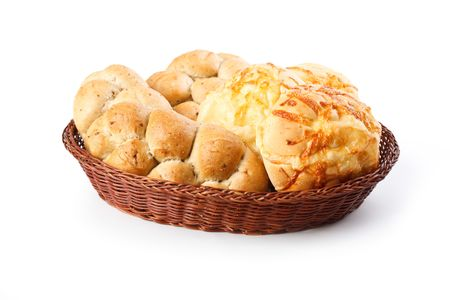 the bread rolls on white table photo