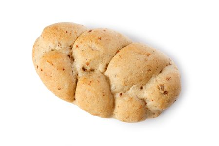the bread roll on white background photo