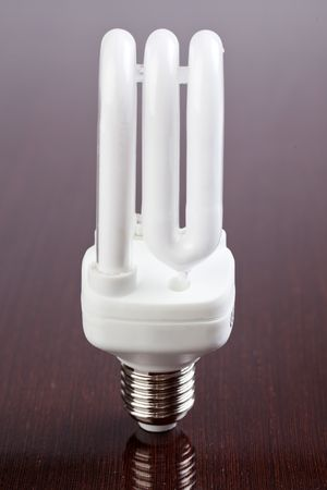 energy saving bulb on wooden table Stock Photo - 6800722