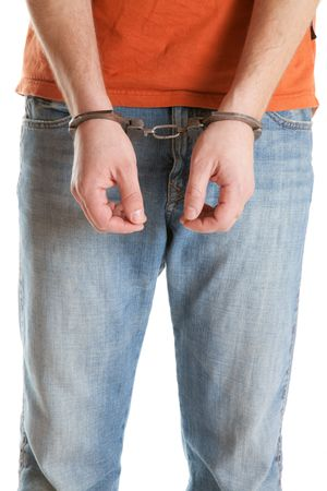 handcuffed man on white background Stock Photo - 6799268