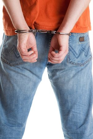 handcuffed man on white background photo