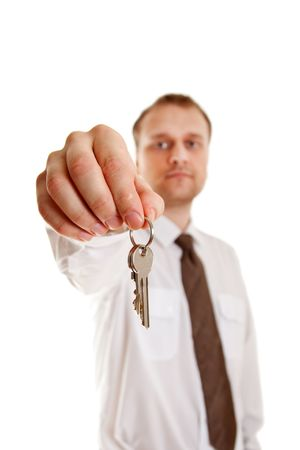 keys in hand on white background photo