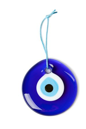 colorful beads: blue turkish eye on white background