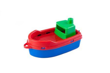 toy boat: plastic toy boat on white background Stock Photo