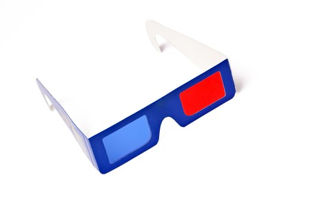 3d glasses on white background photo