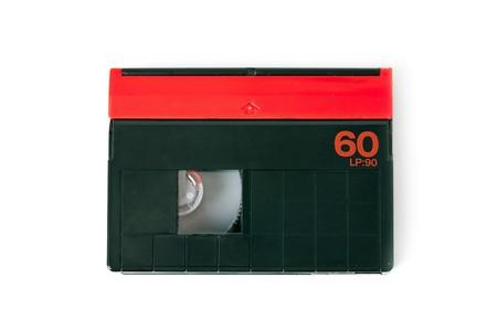 mini DV cassette on white background photo