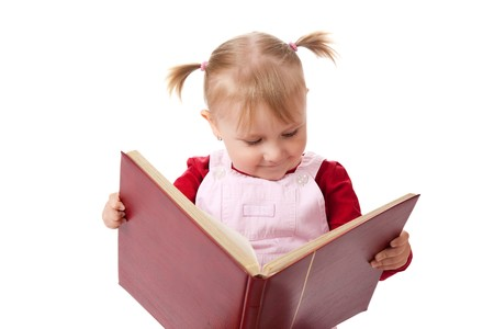 child book: the little girl reading book Stock Photo