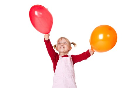little girl with color ballons Stock Photo - 6980886