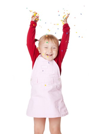 the happy little girl with confetti