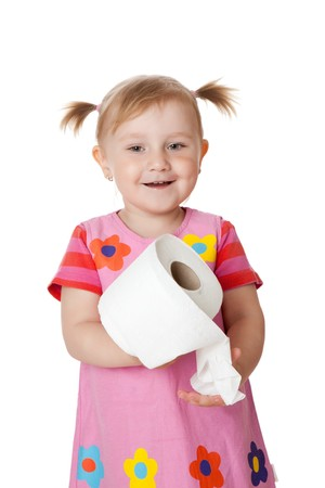 the little girl with toilet paper Stock Photo - 6981019