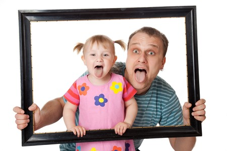 family photo: little girl with her dad in  wooden frame