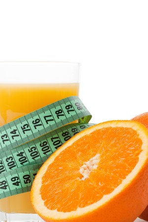 photo shot of orange juice and measuring tape photo