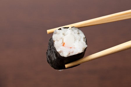 japanese sushi on wooden table photo