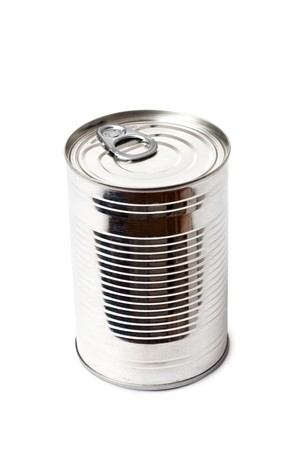 conserve: tin can on white background