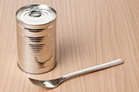 tin can on white background photo