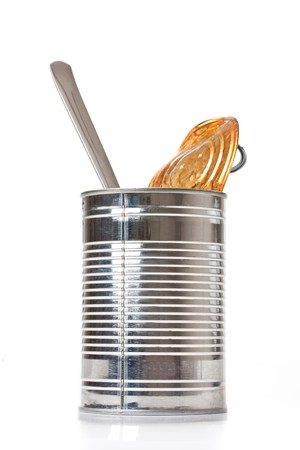 tin can on white background Stock Photo - 7026223