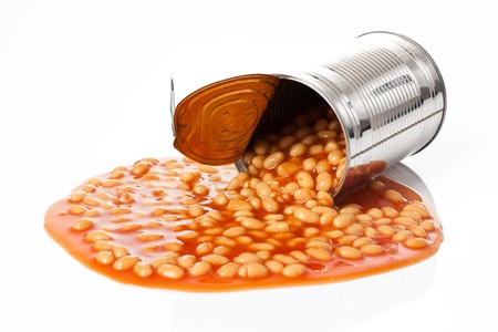 baked beans: photo shot of beans in tin can
