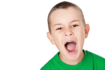 studio shot of screaming boy photo