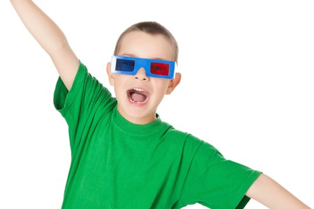 studio shot of young boy with 3D glasses photo