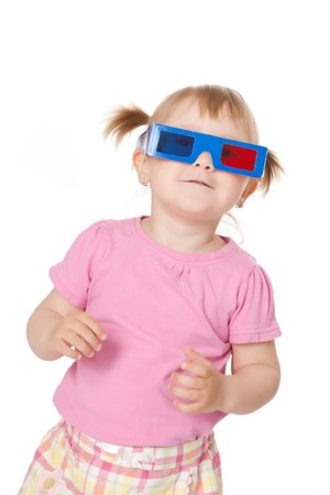 photo shot of little girl with 3D glasses photo