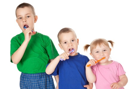 studio shot of children to brush his teeth Stock Photo - 7019976