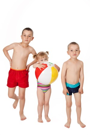 children in swimsuits photo