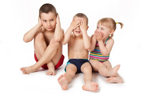 studio shot of children in swimsuits photo