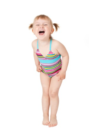 studio shot of young girl in swimsuits photo