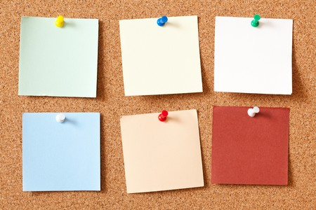 the note papers on corkboard photo