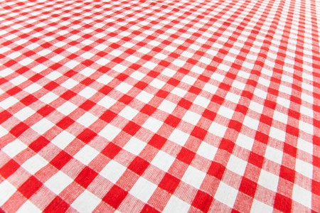 white blanket: checkered tablecloth