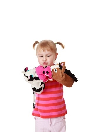 puppet show:  studio shot of little girl playing theater Stock Photo
