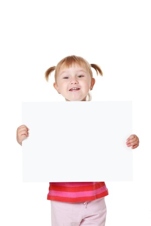 studio shot of little girl with white board photo