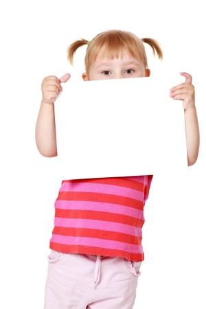 holding blank sign: studio shot of little girl with white board Stock Photo