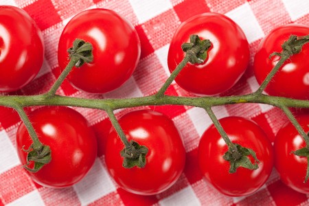 cherry tomatoes on checkered tablecloth Stock Photo - 7070321