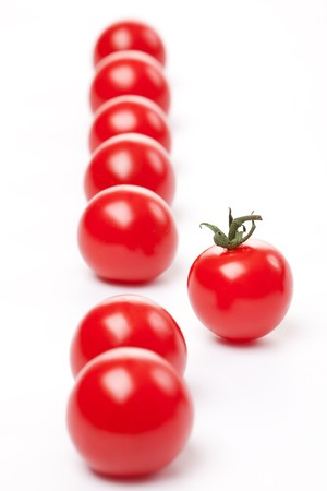 apprehension: cherry tomatoes on white background