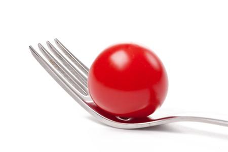 cherry tomato on white background photo