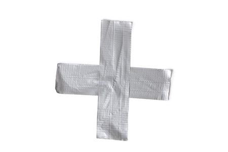 duct: Plata duct tape sobre fondo blanco