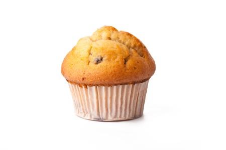 magdalenas: muffin dulce sobre fondo blanco  Foto de archivo