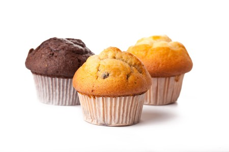 muffins: sweet muffins on white background Stock Photo