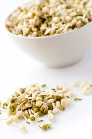 mung: mung beans on white background