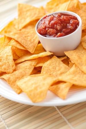 nachos and tomato dip Stock Photo - 7070453