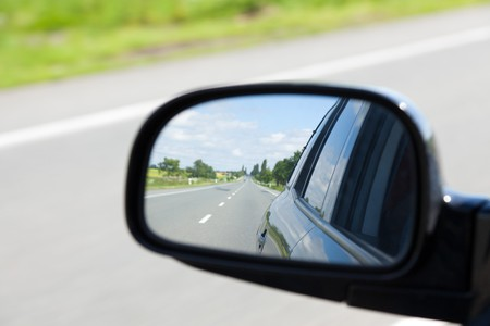 rear view mirror: photo shot of car rearview mirror