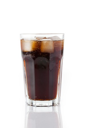 photo shot of cold cola with ice