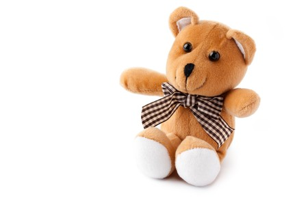 playthings: photo shot of teddy bear on white background
