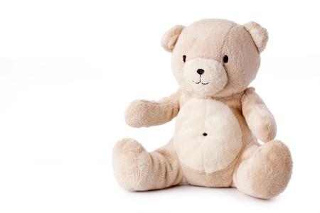 oso de peluche: toma de la foto de oso de peluche sobre fondo blanco