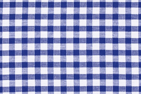 on the tablecloth: the blue checkered tablecloth  Stock Photo