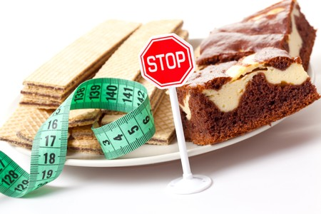 unhealthy lifestyle: concept of diet , stop of sweet food